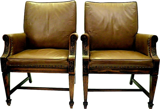 Brown Leather Club Chairs Pair One Kings Lane Vintage