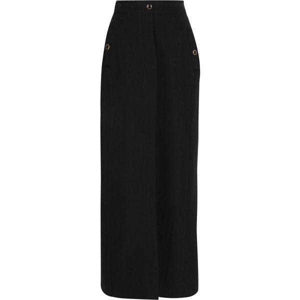 Vanessa Seward - Adagio Split-front Wool-crepe Maxi Skirt (5,415 EGP) ❤ liked on Polyvore featuring skirts, black, floor length skirts, ankle length skirt, crepe skirt, long crepe skirt and crepe maxi skirt