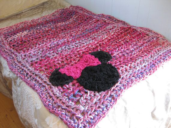 Minnie Mouse crochet blanket Minnie pink by StarlingNightCrochet, $150.00: Crochet Blankets, Blankets Minnie, Blankets Pink, Quilts Blankets, Mouse Blankets