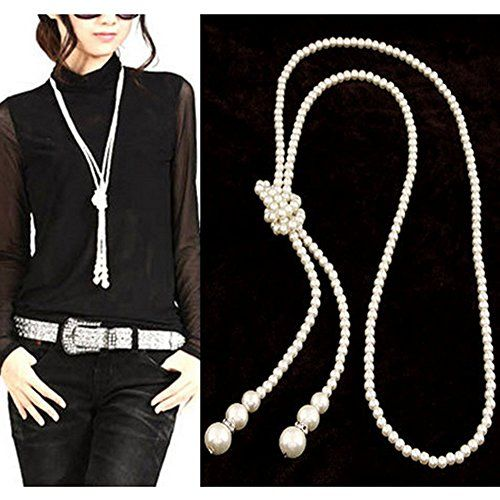 Double Strand Knotted Long Pearl Necklace Three Feet of Strings * You can get more details by clicking on the image.