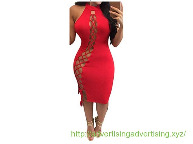 Merry21 Womens Sexy Halter Hollow Out Lace Up Bodycon Bandage Club Dress