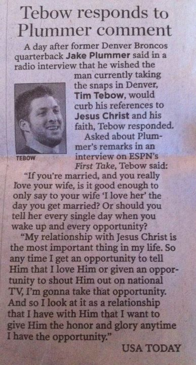 Tebow has it right