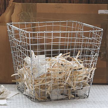 Wire Mesh Storage Waste Basket from West Elm $31 The perfect wire basket - not too shiney or heavy (why do I have to be so particular about everything??)