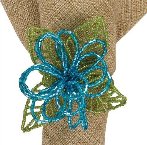 Beaded Flower Napkin Ring Turquoise Contemporary Floral Country Home Decor - Set of 4