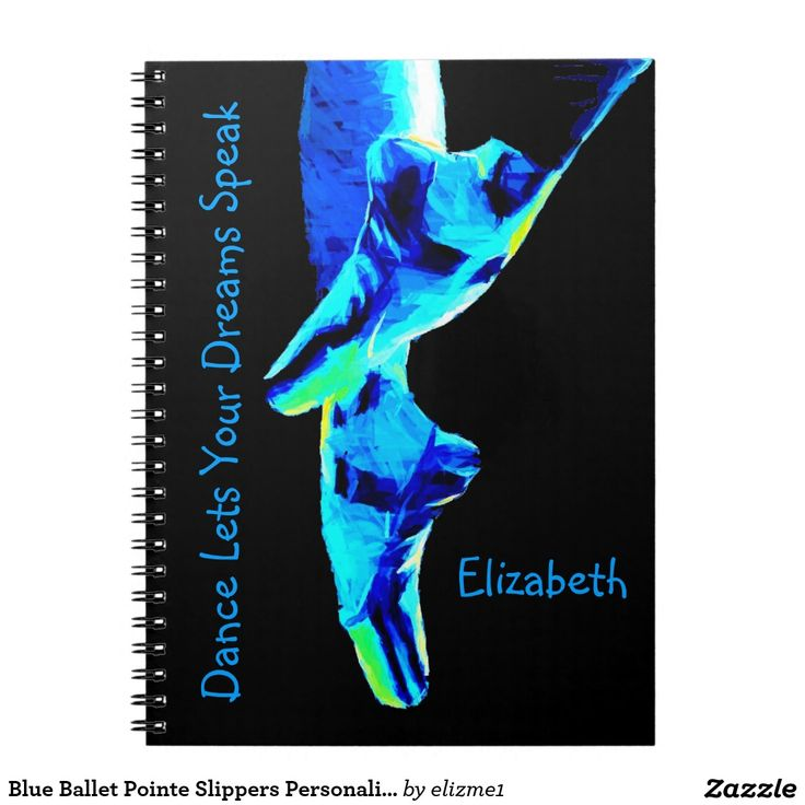Blue Ballet Pointe slippers personalized spiral notebook with a dance theme