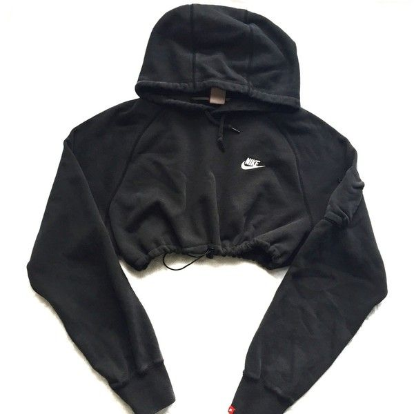 Reworked Nike Crop Hoody Blk ($48) ❤ liked on Polyvore featuring nike