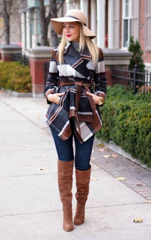 plaid winter coat outfit, How to dress chic and warm in winter http://www.justtrendygirls.com/how-to-dress-chic-and-warm-in-winter/