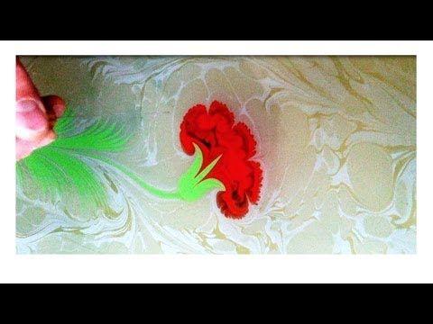 Ebru Sanati - Karanfil - Abdulkerim Caliskan, painting on water, marbling art - YouTube