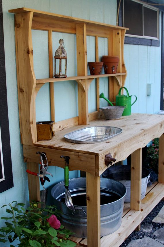Custom Cedar Potting Station Outdoor Wet Bar