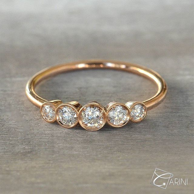 Five stone engagement ring in 18 k gold with brilliant-cut-diamonds, produced with Italian manufacture. Diamonds ct 0.28 € 832 #5stonering#rosegold#diamonds#thinring#stackablering #shopping #fashion #instancool #amazing #loveyou #loveher #adorable #forever #wedding #instamjewelry #jewelrylove #carinigioielli #wedding #bride #brides #bridesmaids #engaged #marryme #heaskedshesaidyes #shesaidyes #ido #repost #inselly