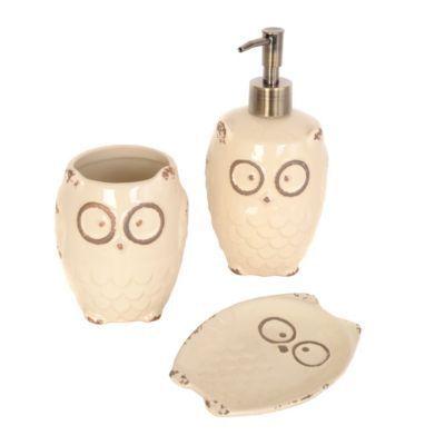 Cream Owl 3 Piece Bath Accessory Set | Kirklandu0027s
