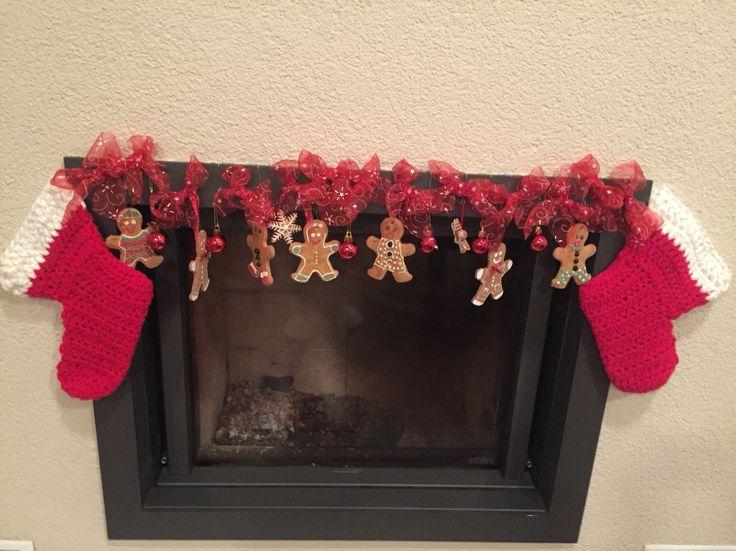 Vánoční dekorace krbu