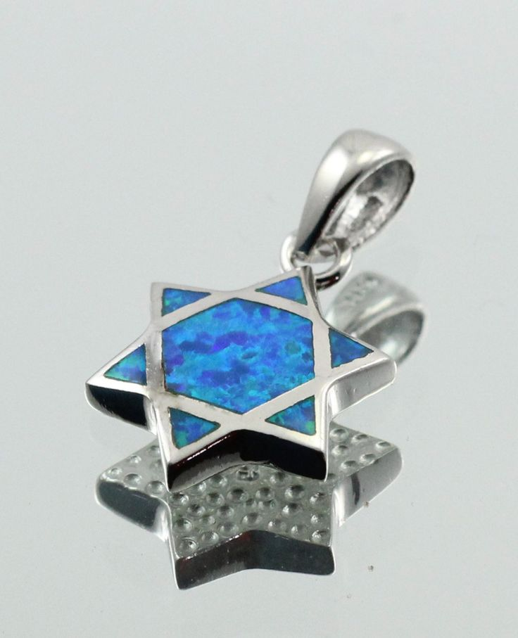"Star Of David Jewish Star Pendant Charm Solid 925 Sterling Silver Lab Blue Australian Turquoise Opal Jewish Star of David Jewelry 1.1"" Long"