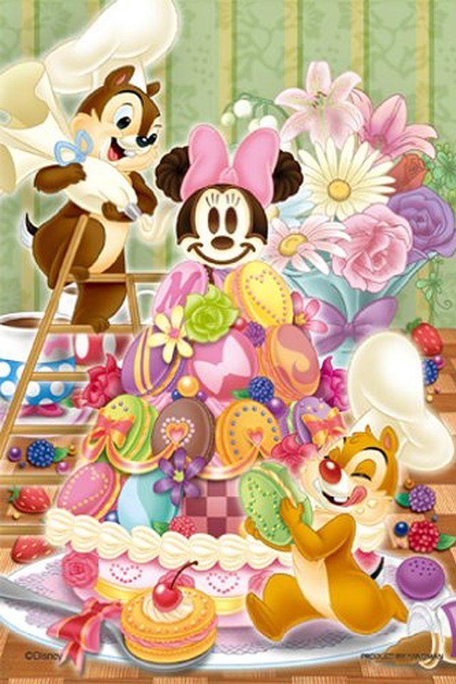 チップとデールがミニーちゃんのマカロンケーキを作ってる♪ ディズニー背景のイラスト