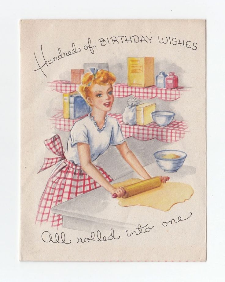 Vintage Greeting Card Lady Kitchen Baking Rolling Dough Cookie Typography 1940s