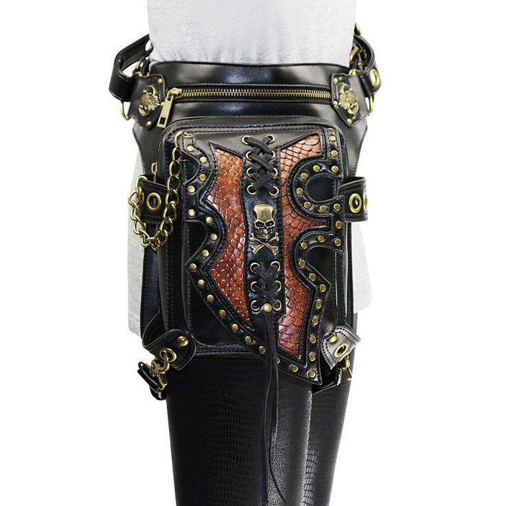 Latest Unisex Rivet Steampunk Waist Bag Motorcycle Rock Cross Body leg Thigh Holster Bag