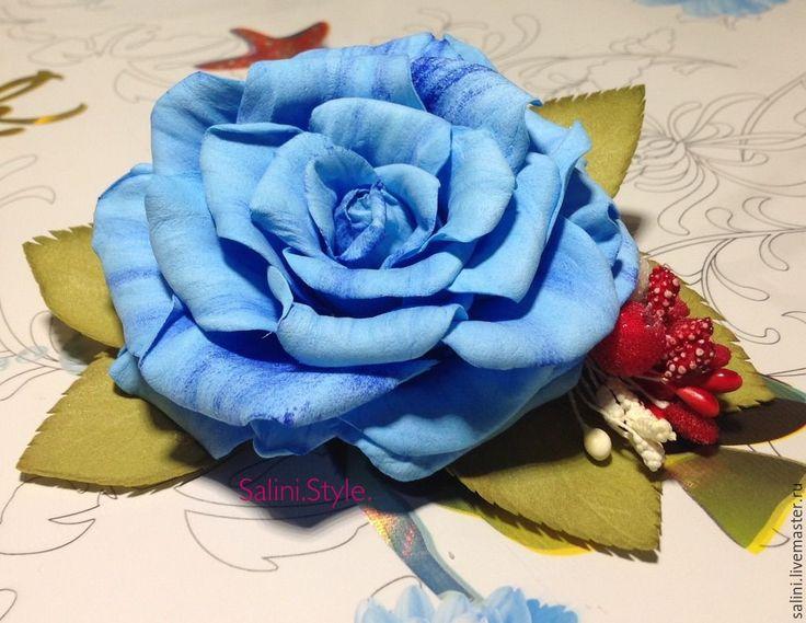"""Купить Брошь-зажим из фоамирана""""Голубоя роза"""" - синий, фоам, фоамиран иранский, брошь ручной работы"""