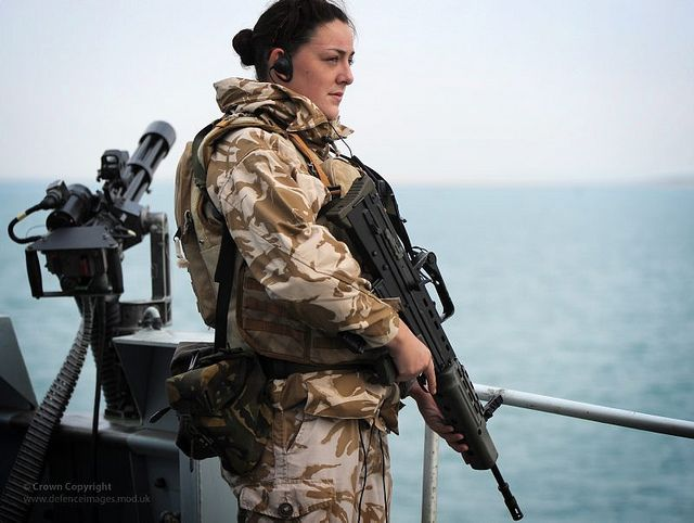 Royal Navy Servicewoman Keeps Armed Vigil Aboard HMS Somerset in the Suez Canal by Defence Images, via Flickr