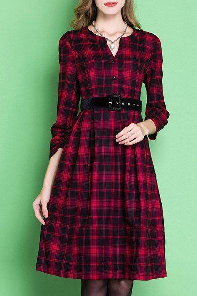 Elegant Long Sleeve V-Neck Plaid Belted A-Line Dress For Women