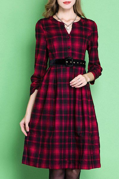 Elegant Long Sleeve V-Neck Plaid Belted A-Line Dress For Women