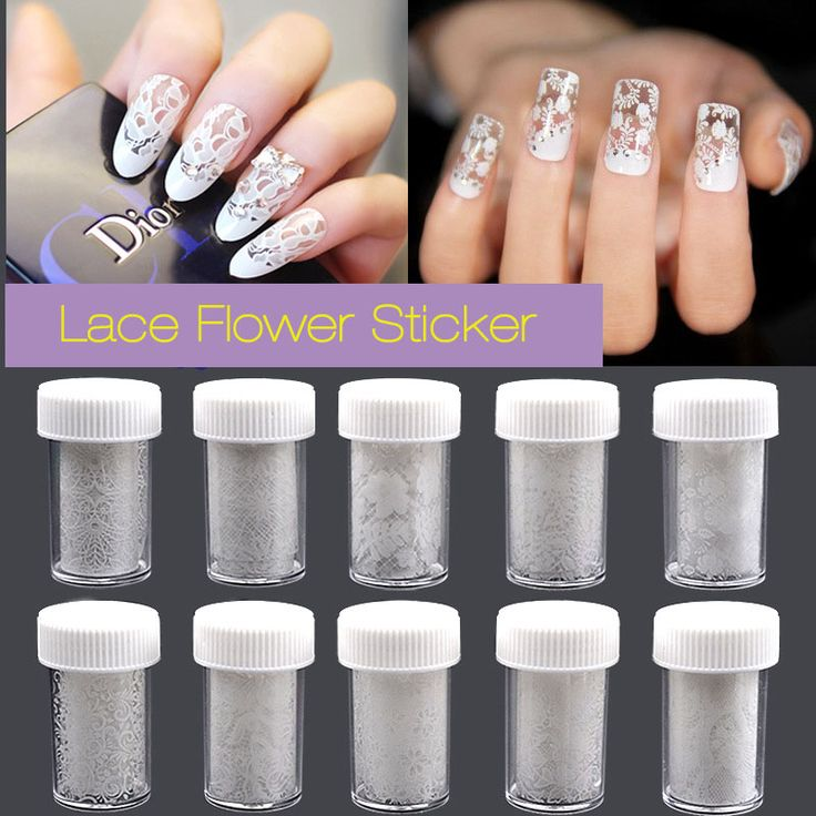 New Nail Art  Sticker Transfer Foil Sticker White Lace Rose Flower Floral Tips Decoration Polish Manicure Tools Decal 2017 Sale