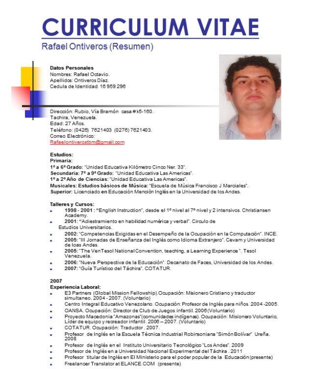 216930 Modelos De Curriculum Vitae Curriculum Vitae Ejemplos De Curriculum Vitae