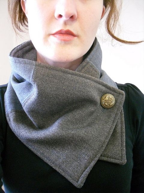 Neck Warmer - Great repurposing  project of salvaged suiting fabric and vintage button(s) - by Christina Robinson via CoolHunting Project,