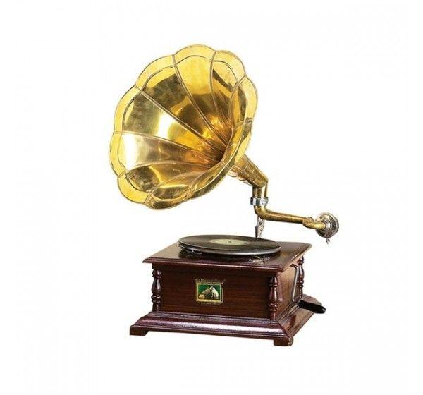Indian Nautical Art Working Gramma Phone With Brass Finish Horn. Shop Here -- http://trendybharat.com/Art-Crafts/Handicrafts