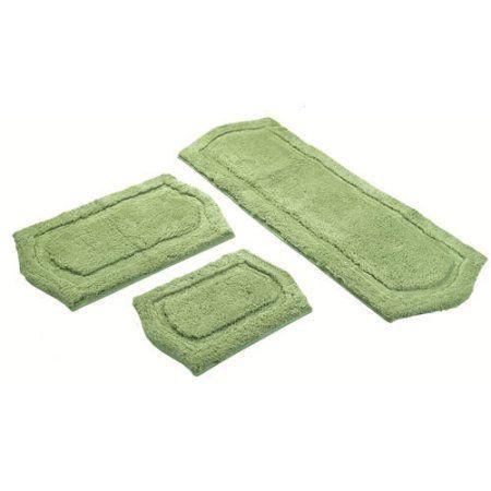 3-Piece Paradise Memory Foam Bath Rug Set, Green