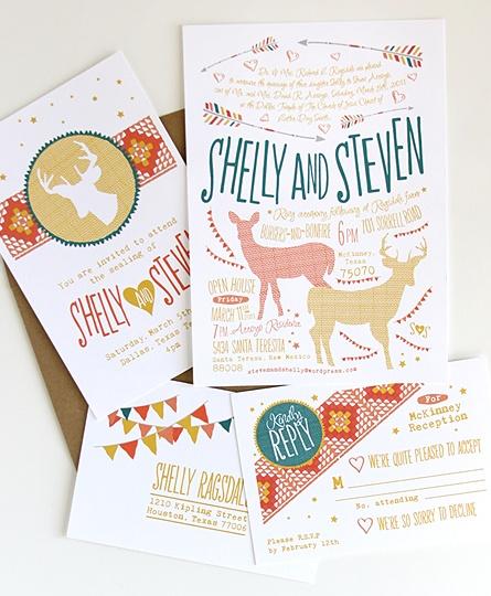 Whimsical wedding invite set from Dapper Paper