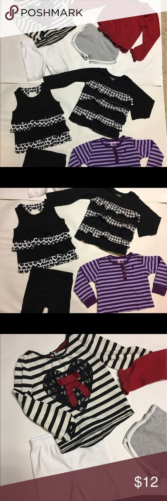 Lot of 8 pcs 2T Garanimals All are Garanimals brand except for black and white striped top with heart and bow that is a Cherokee brand, the red sparkle long sleeve top is Children's Place. Mixed sizes of 24M-2T. Children's Place Matching Sets