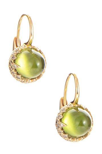 Vintage Pomellato Chimera Diamond & Peridot Drop Earrings by SWI Group on @HauteLook