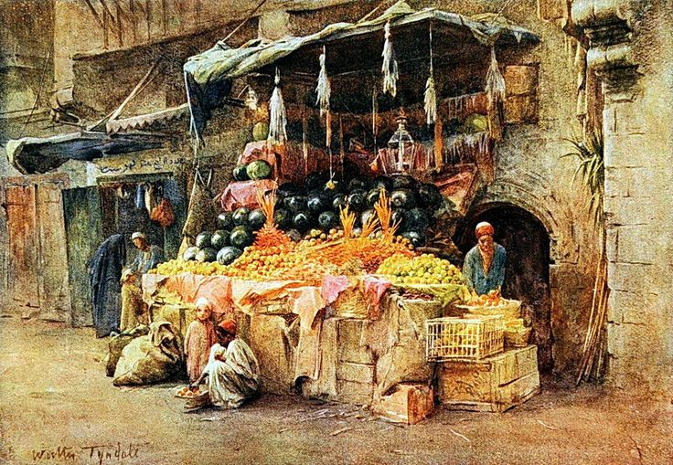 Fruit stall in Cairo , Egypt 1907 by Walter Tyndale (English , 1855–1943)