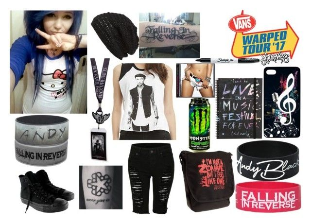 """""""Warped Tour 2017"""" by jen24610 ❤ liked on Polyvore featuring Sharpie, King & Fifth Supply Co., LE3NO and Converse"""