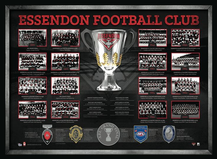 AFL ESSENDON FOOTBALL CLUB THE HISTORICAL SERIES Features foil-printed replica medals awarded to Essendon Football Club's players Complete with images from all premiership teams, and statistics and records throughout Essendon's history Limited to 1000 units only Officially licensed by the AFL Accompanied with an AFL Players Assocations certificate of authetnticity Presnted in a deluxe matted timber frame Approx framed size 800mm x 600mm