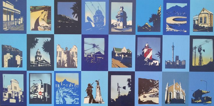 Home - Alex Hamilton, Hand Cut Stencils, Spray Paint and Acrylic on Canvas, 1.6m x 80cm (Scenes of South African Cities, Towns and Landscapes)