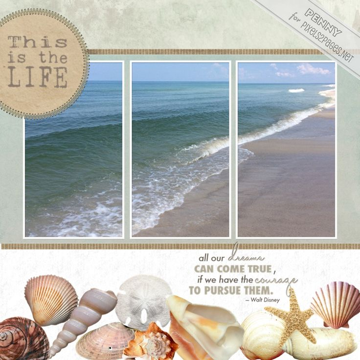 """Digital scrapbooking layout """"This Is the Life"""" featuring the scrapbooking design Challenge 283 """"Heap It Up"""" by Penny Peterson, now available at pixels2Pages.net. Created in Forever Artisan software using digital content from Panstoria Store Designers including Cottage Arts & Designer Digitals as well as Creative Memories. (Prospective members - check out our Free Trial!) Photos of a serene Gulf of Mexico beach along the Florida Panhandle at St. Joseph's Peninsula State Park by Penny…"""