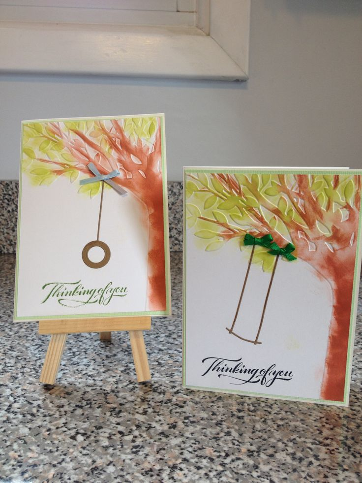 Card Making Ideas Using Embossing Folders Part - 24: Swings Are Memory Box Dies And Tree Is A Darice Embossing Folder