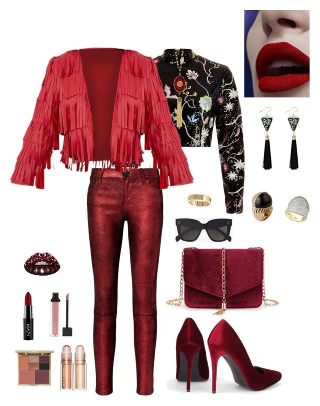 """""""Untitled #795"""" by lianatzelese on Polyvore featuring River Island, RtA, Effy Jewelry, Gucci, Stila, NYX, CÉLINE and 14th & Union"""