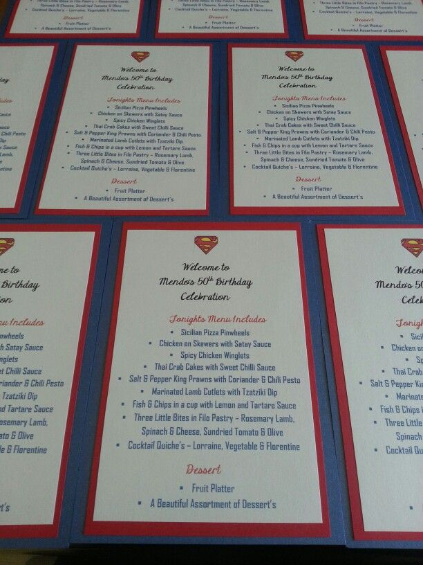 Superman Birthday Menu Cards.