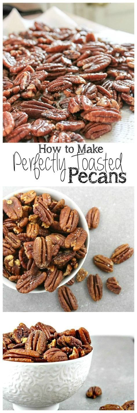 Who doesn't love a buttery toasted pecan that is lightly dusted with sea salt.  They are the perfect snack or hostess gift! Perfectly Toasted Pecans | Take Two Tapas