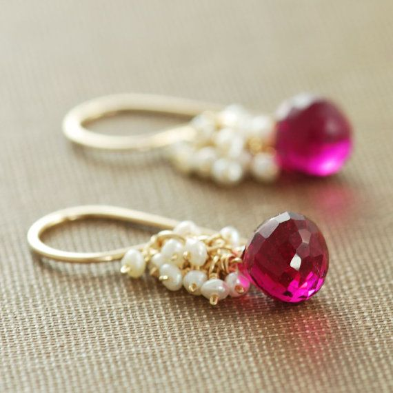 Raspberry Quartz Seed Pearl Earrings 14k Gold Fill, Wrapped Pink Gemstone Dangle Earrings, Cluster Earrings