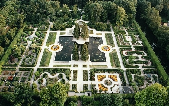 Top view of the castle gardens of Arcen Castle Gardens (1 hour from Maastricht)  www.elfia.com