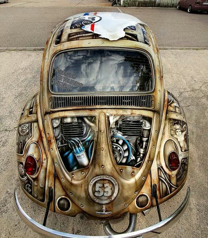 Oh my gosh! A steampunk Herbie...this is so cool! I would look to do something like this to a classic VW beetle...or maybe even a VW Camper