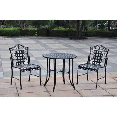 Mandalay 3 Piece Patio Dining Set by International Caravan. $265.85. 3473-EP Features: -Material: Wrought iron.-Complete EP outdoor weather proof protection.-Easy to assemble. Includes: -Set includes round table and two low profile chairs. Dimensions: -Table dimensions: 28'' H x 30'' W x 30'' D.-Chair dimensions: 36'' H x 23'' W x 17.5'' D. Collection: -Mandalay collection.