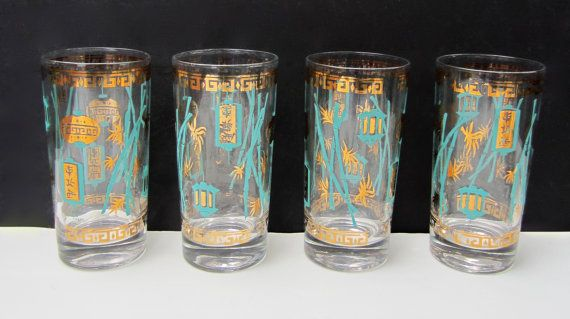 Four Vintage Helen Luger Swanky Turquoise Aqua Gold High Ball Bar Cocktail Glass. Oriental Asian Lanterns Bamboo. Mid Century Barware on Etsy, $25.00