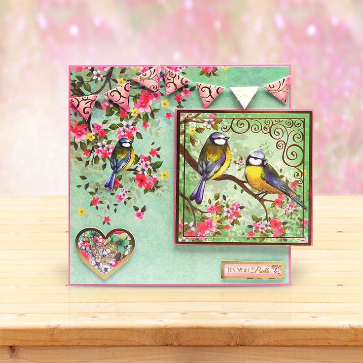 This card was made using the 'Birds of a Feather' Luxury Topper Set from the Shimmering Pearl Collection by Hunkydory Crafts http://www.hunkydorycrafts.co.uk/papercraft/hunkydory-collections/shimmering-pearl.html