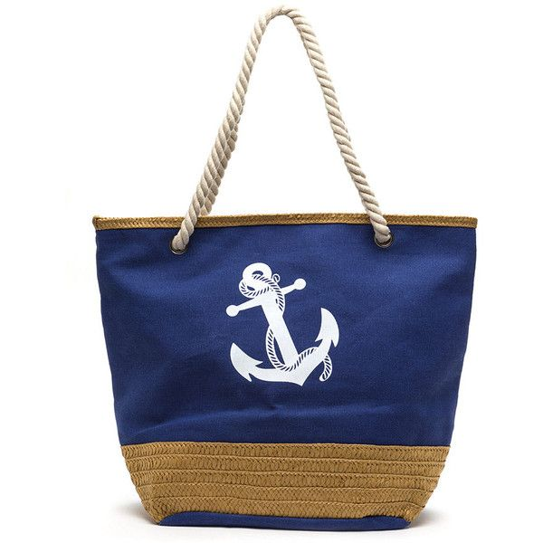 Hey Sailor Oversized Anchor Beach Bag BLUEMULTI ($13) ❤ liked on Polyvore featuring bags, handbags, tote bags, multi, handbags totes, woven beach bag, anchor beach bag, anchor tote bag and blue tote
