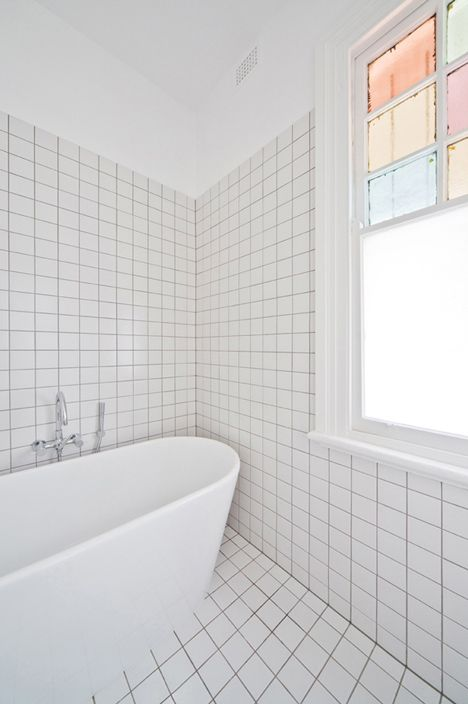 House Eadie by Tribe Studio. I like tile, but this particular application is much too stark, and is relieved only by the pastel stained glass in the upper window... For an authoritative discussion of what to do instead of, or in addition to paint, see http://www.bathroom-paint.net/bathroom-paint-alternatives.php