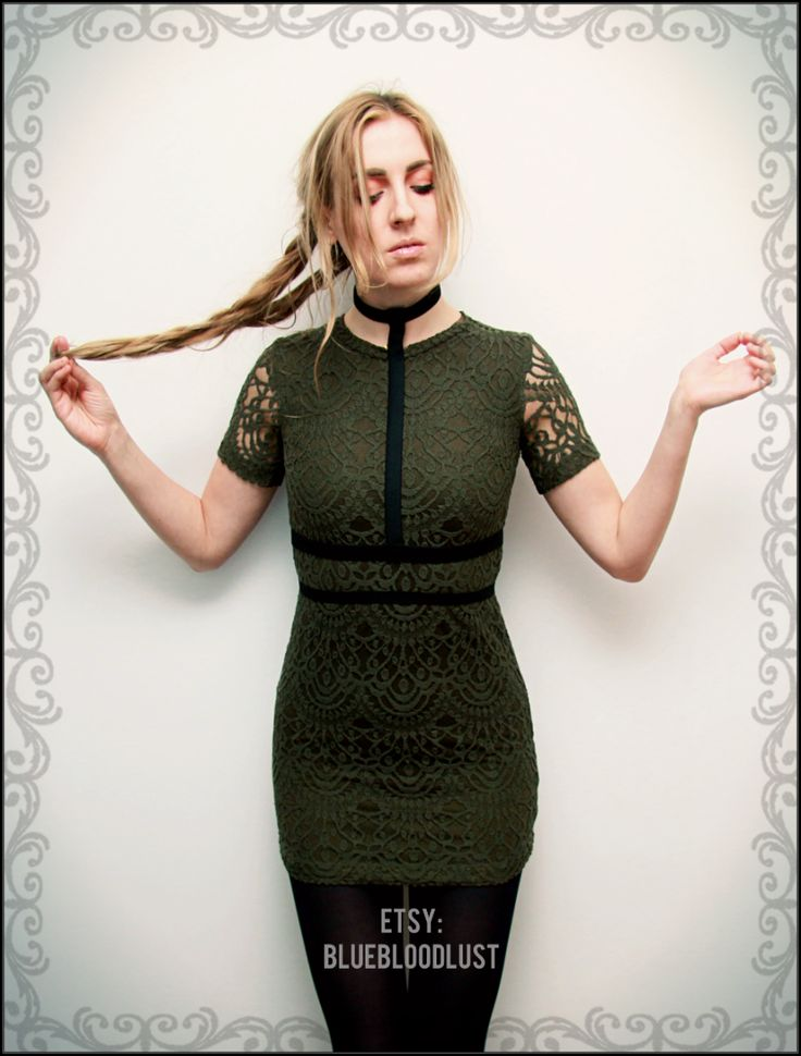 found on Etsy: https://www.etsy.com/shop/BlueBloodLust khaki lace lovely dress strappy fashion clothing outfit